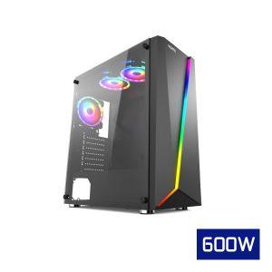 Vento GPE180304 RGB Temperli Cam Mid Tower ATX Bilgisayar Kasası FSP HP600S 600W Güç Kaynağı