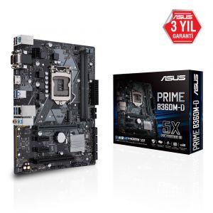 ASUS PRIME B360M-D DDR4 2666MHz 1151P v2 mATX Anakart