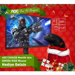 AOC C32G2ZE-BK Oyuncu Monitörü ve AOC GM500 Optik Oyuncu Mouse