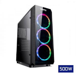 Vento VG04FE Temperli Cam Mid Tower ATX RGB Bilgisayar Kasası FSP AHBC 500W Güç Kaynağı