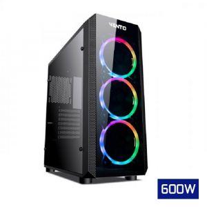 Vento VG04FE Temperli Cam Mid Tower ATX RGB Bilgisayar Kasası FSP AHBC 600W Güç Kaynağı