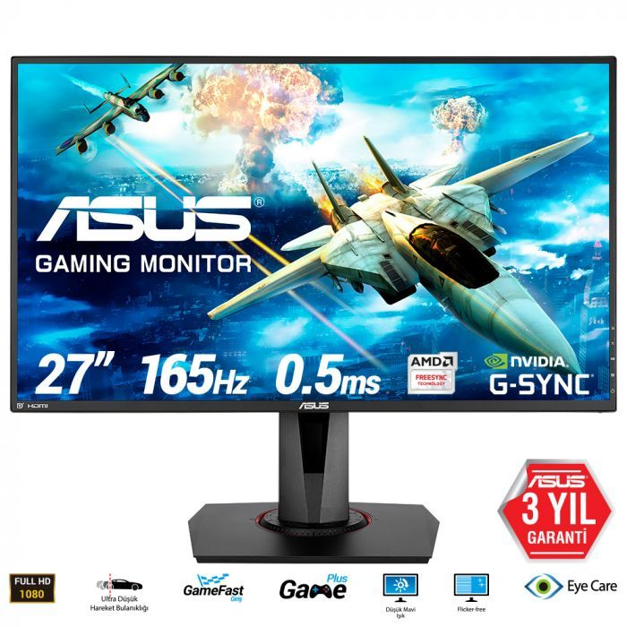 Asus VG278QR 27'' 0,5ms 165Hz FHD FreeSync ve G-Sync Uyumlu Monitör